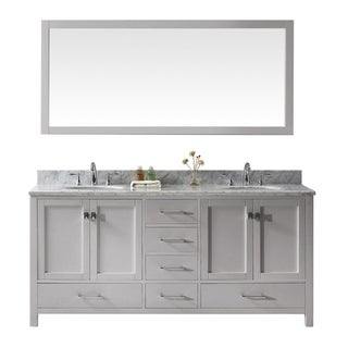 "Caroline Ave 72"" Double Vanity Cashmere Grey Marble Top Round Sinks"