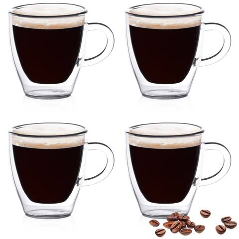 Epare Insulated Espresso Cups, 4 Double Wall Glass Demitasse Mugs, 2oz