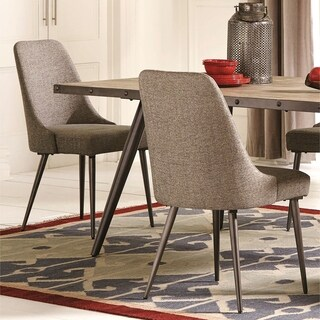 Modern Chic Design Grey Fabric with Metal Legs Dining Chairs (Set of 2)