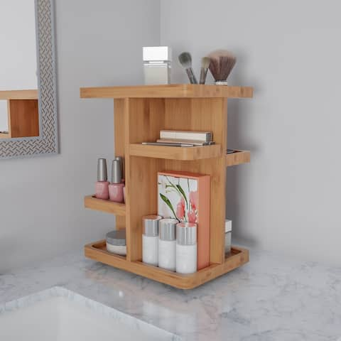 Makeup Organizer- Rotating Eco-Friendly Compact Modern Bamboo Skincare Cosmetic and Vanity Carousel by Lavish Home