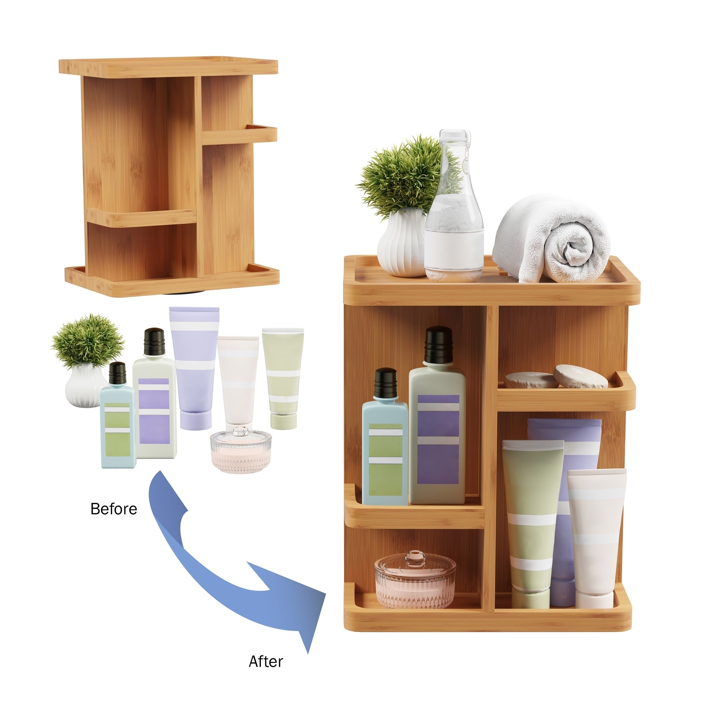 Makeup Organizer Rotating Eco Friendly Compact Modern Bamboo Skincare Cosmetic And Vanity Carousel By Lavish Home Overstock 27390780