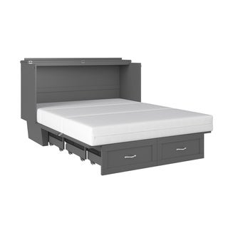 Monroe Murphy Bed Chest Queen Atlantic Grey with Charging Station