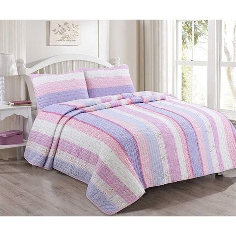 Cozy Line Eloise Stripe Floral Reversible Cotton Quilt Set