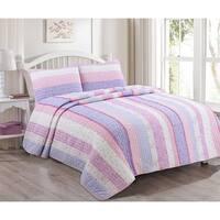 Cozy Line Eloise Stripe Floral Reversible Cotton Quilt Set - Lilac/Pink/White