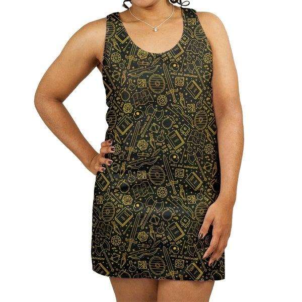 c9e9bfafd40b Shop Katelyn Elizabeth Black & Yellow RPG Pattern Women's Racerback Tank  Dress - Free Shipping Today - Overstock - 27391162