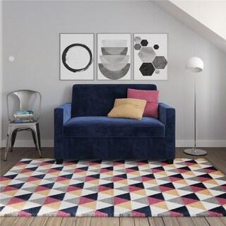 Avenue Greene Camilla Blue Velvet Twin Loveseat Sofa Sleeper