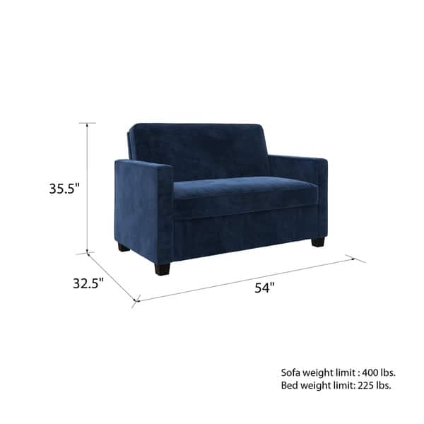 Shop Avenue Greene Camilla Blue Velvet Twin Loveseat Sofa