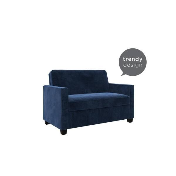 Shop Avenue Greene Camilla Blue Velvet Twin Loveseat Sofa ...