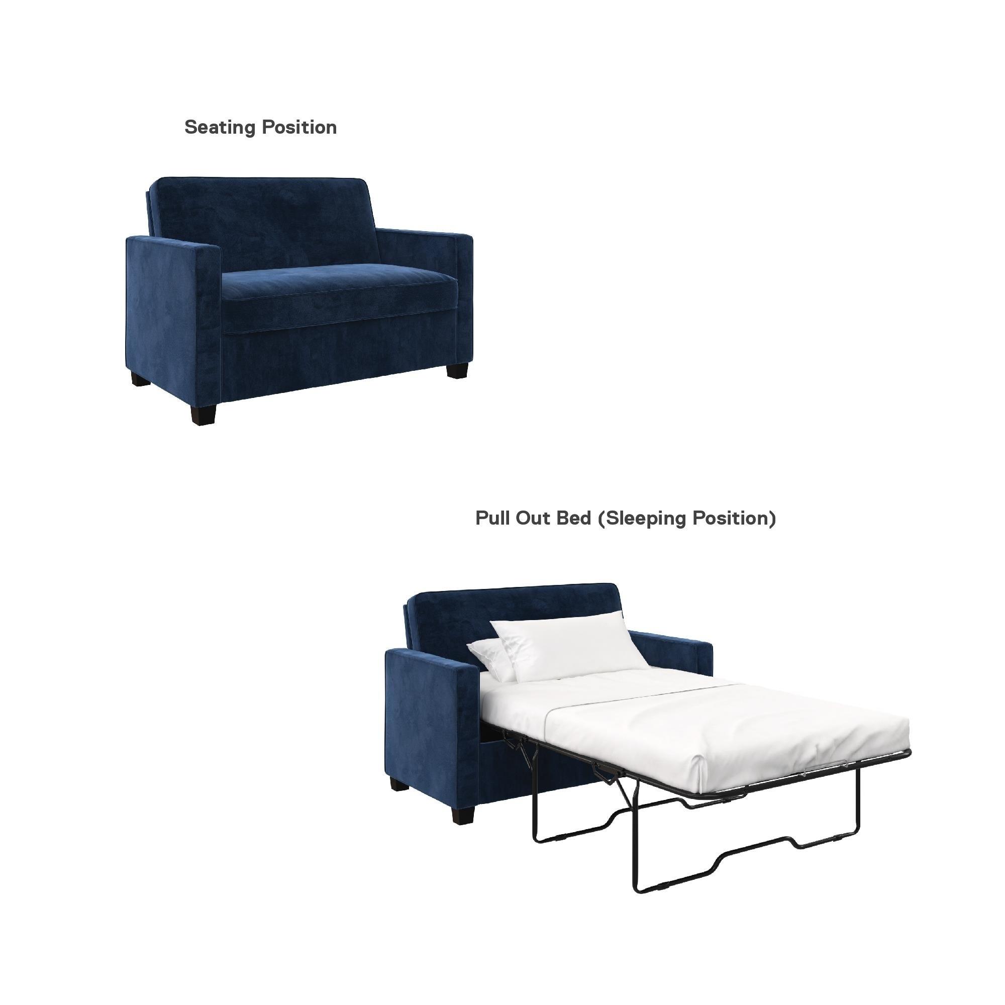 Stupendous Avenue Greene Camilla Blue Velvet Twin Loveseat Sofa Sleeper Andrewgaddart Wooden Chair Designs For Living Room Andrewgaddartcom