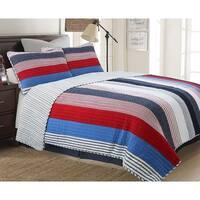 Cozy Line Ayden Stripe Reversible Cotton Quilt Set - Blue/Red/Navy/White