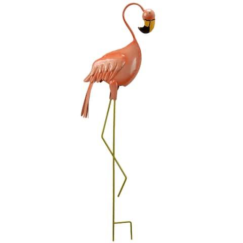National Tree Company Peach Metal 33.5-inch Spring Decor Flamingo