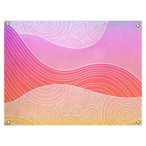 Katelyn Elizabeth Pastel Rainbow Hand Drawn Waves Tapestry In/Out