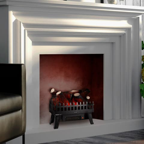 Northwest LED Electric Log Insert for Fireplaces-Heater with Realistic Energy-efficient LED Glowing Flame Ember Bed