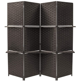 Diamond Room Divider, Partition Wall, With 2 Display Shelves , 4 Panel