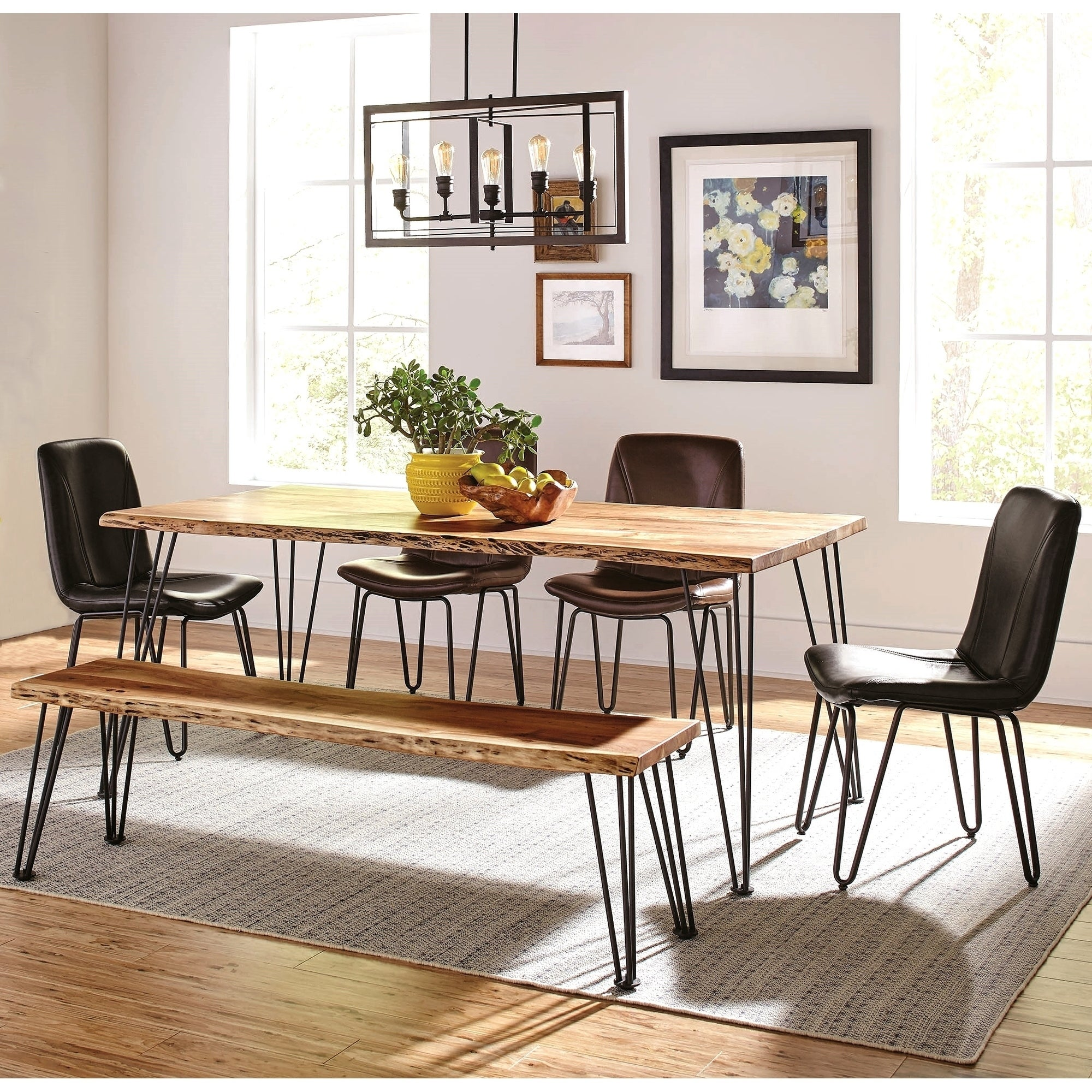 Picture of: Natural Acacia Solid Wood Live Edge Design With Metal Legs Dining Set Overstock 27396971