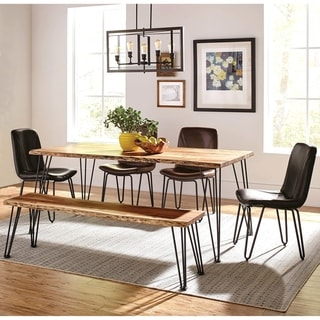 Natural Acacia Solid Wood Live Edge Design with Metal Legs Dining Set