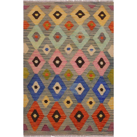 Kilim Charolet Gray/Blue Hand-Woven Wool Rug -2'9 x 4'2 - 2 ft. 9 in. X 4 ft. 2 in.