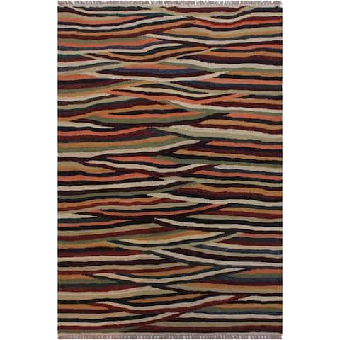 Kilim Burton Tan/Blue Hand-Woven Wool Rug -2'10 x 4'3 - 2 ft. 10 in. X 4 ft. 3 in.