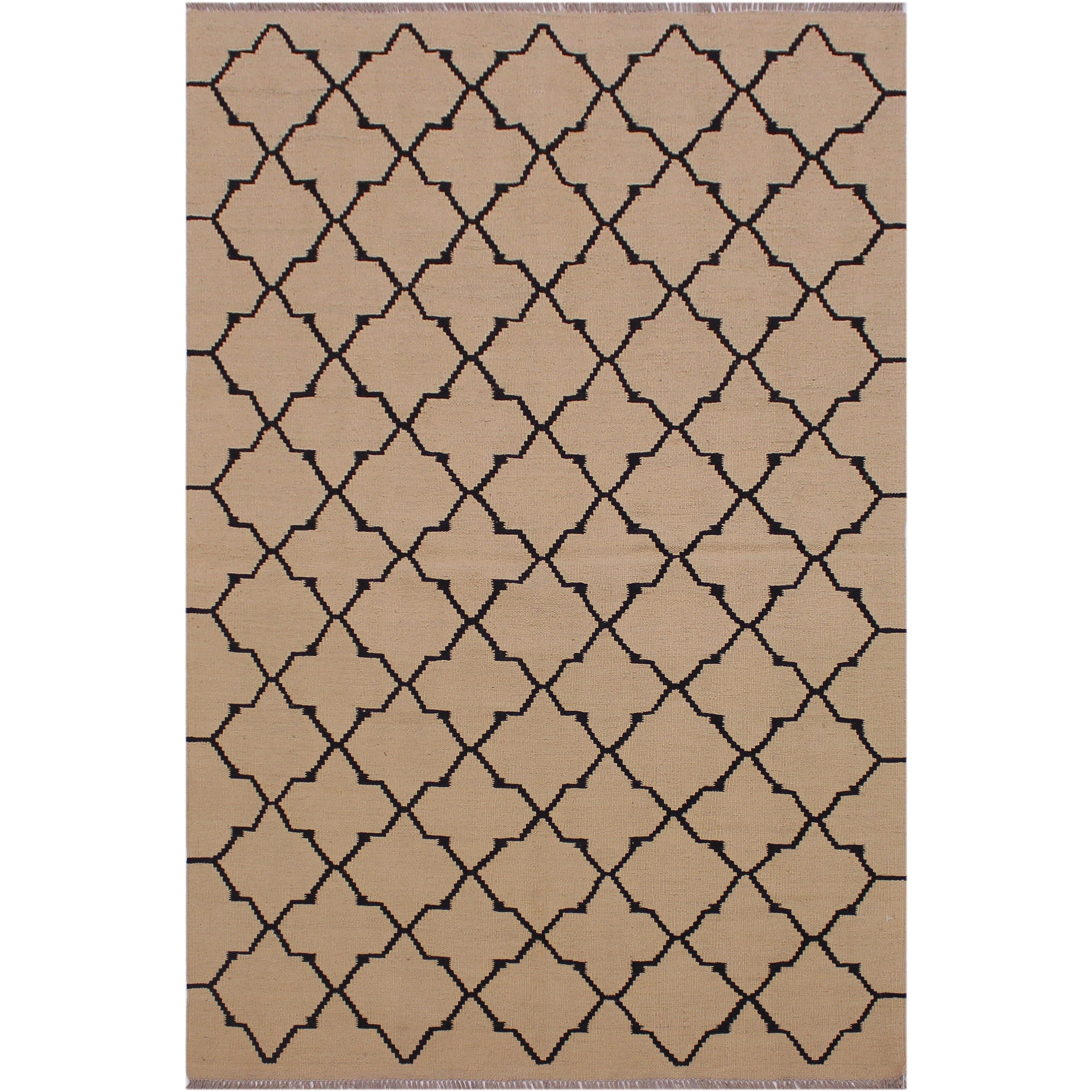 Kilim Margurit Tan Black Hand Woven Wool Rug 4 0 X 6 4 4 Ft 0 In X 6 Ft 4 In