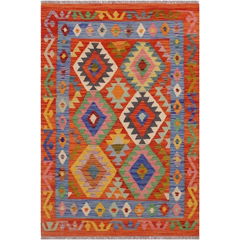 Kilim Amber Rust/Blue Hand-Woven Wool Rug -2'5 x 4'10 - 2 ft. 5 in. X 4 ft. 10 in.