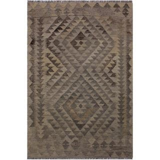 Kilim Barrett Gray/Brown Hand-Woven Wool Rug -2'9 x 4'3 - 2 ft. 9 in. X 4 ft. 3 in.