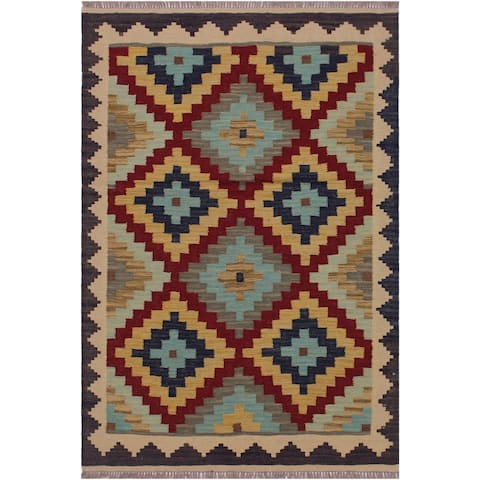Kilim Billy Brown/Tan Hand-Woven Wool Rug -3'5 x 4'11 - 3 ft. 5 in. X 4 ft. 11 in. - 3 ft. 5 in. X 4 ft. 11 in.