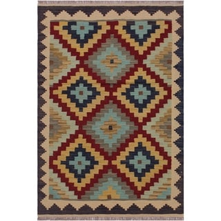 Kilim Billy Brown/Tan Hand-Woven Wool Rug -3'5 x 4'11 - 3 ft. 5 in. X 4 ft. 11 in.