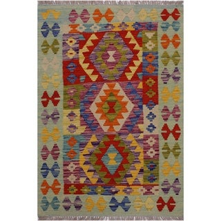 Kilim Basil Lt. Blue/Green Hand-Woven Wool Rug -2'10 x 4'0 - 2 ft. 10 in. X 4 ft. 0 in.