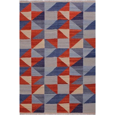 Kilim Donella Gray/Blue Hand-Woven Wool Rug -4'10 x 6'6 - 4 ft. 10 in. X 6 ft. 6 in. - 4 ft. 10 in. X 6 ft. 6 in.