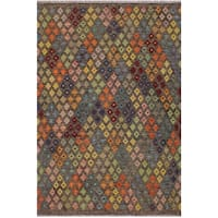 Kilim Annelle Brown/Blue Hand-Woven Wool Rug -5'2 x 6'5 - 5 ft. 2 in. X 6 ft. 5 in.