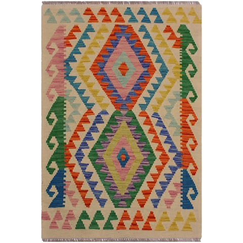 Kilim Danniell Ivory/Blue Hand-Woven Wool Rug -2'7 x 3'10 - 2 ft. 7 in. X 3 ft. 10 in.