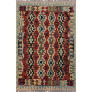 Kilim Margheri Ivory/Red Hand-Woven Wool Rug -3'3 x 4'8 - 3 ft. 3 in. X 4 ft. 8 in.