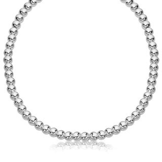 Sterling Silver Rhodium Plated Necklace With A Polished Bead Style 8mm