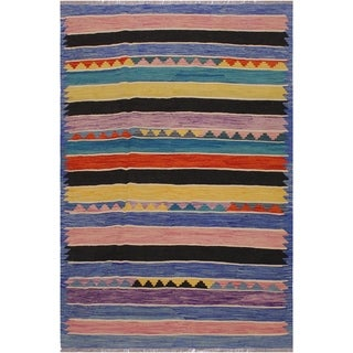 Kilim Enriquet Lt. Blue/Pink Hand-Woven Wool Rug -4'10 x 6'6 - 4 ft. 10 in. X 6 ft. 6 in.