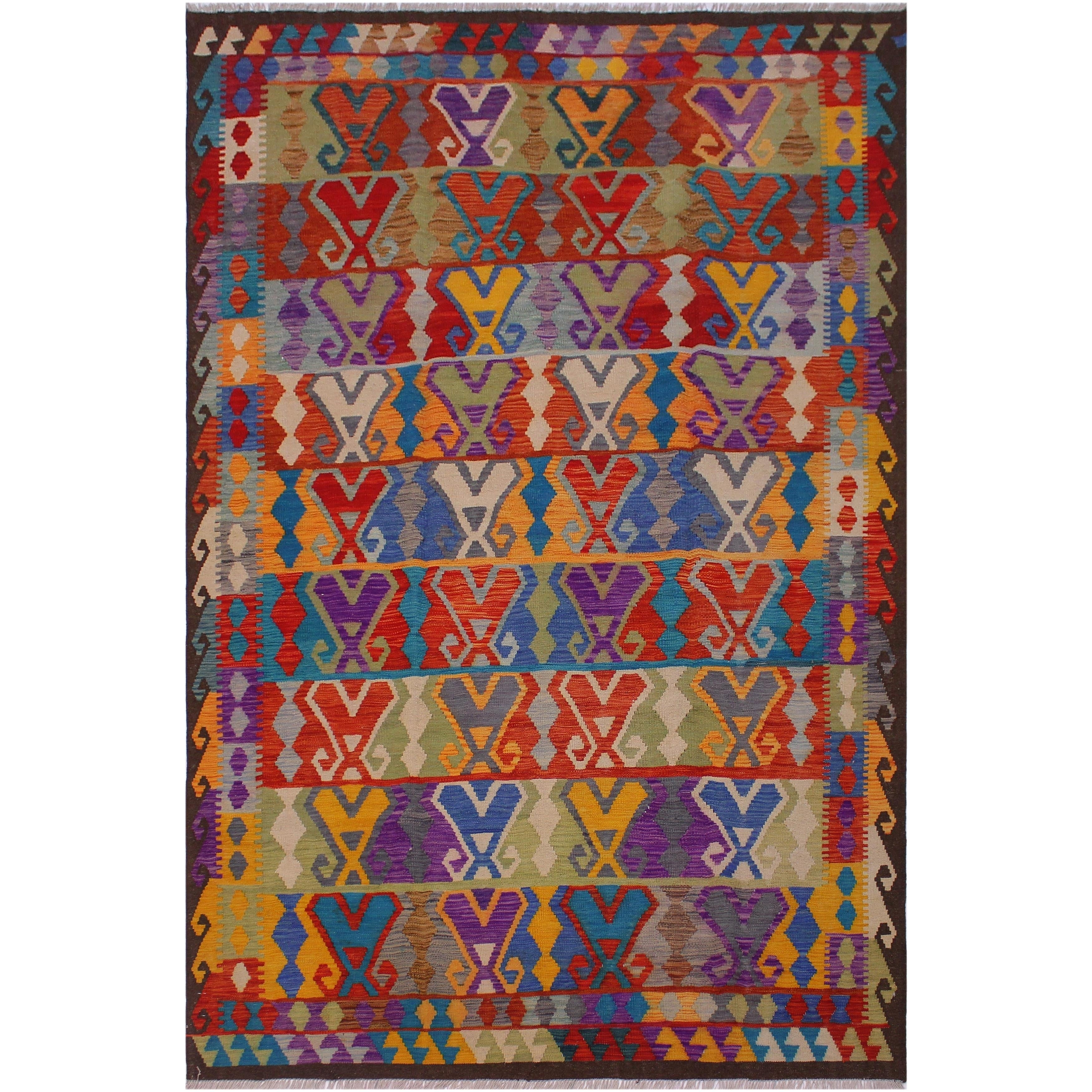 Kilim Cassius Red Brown Hand Woven Wool Rug 6 5 X 9 7 6 Ft 5 In X 9 Ft 7 In 6 Ft 5 In X 9 Ft 7 In On Sale Overstock 27398040