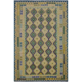 Kilim Dorla Blue/Teal Hand-Woven Wool Rug -6'9 x 10'1 - 6 ft. 9 in. X 10 ft. 1 in.