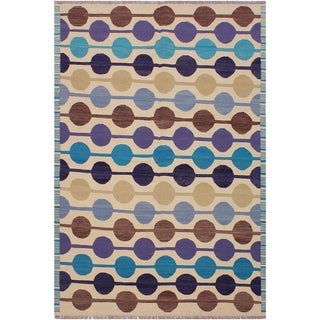 Kilim Marcelin Beige/Blue Hand-Woven Wool Rug -5'8 x 8'0 - 5 ft. 8 in. X 8 ft. 0 in.