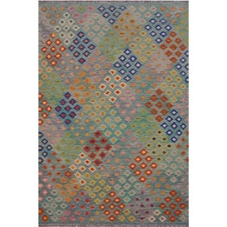 Kilim Amiee Green/Orange Hand-Woven Wool Rug -6'6 x 9'9 - 6 ft. 6 in. X 9 ft. 9 in.