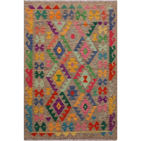 Kilim Carmelin Gray/Pink Hand-Woven Wool Rug -3'2 x 4'10 - 3 ft. 2 in. X 4 ft. 10 in. - 3 ft. 2 in. X 4 ft. 10 in.