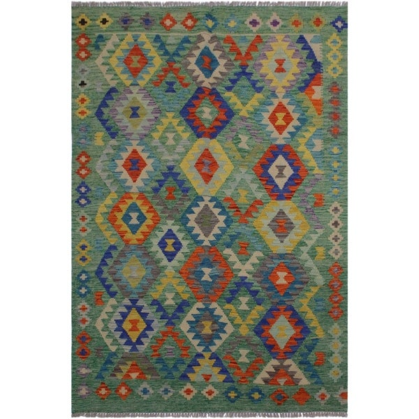 Kilim Christen Green/Teal Hand-Woven Wool Rug -4'10 x 6'5 - 4 ft. 10 in. X 6 ft. 5 in.