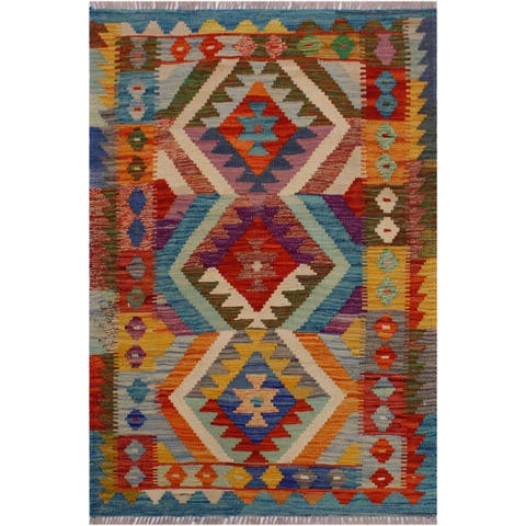 Kilim Angele Teal/Rust Hand-Woven Wool Rug -2'7 x 4'0 - 2 ft. 7 in. X 4 ft. 0 in.