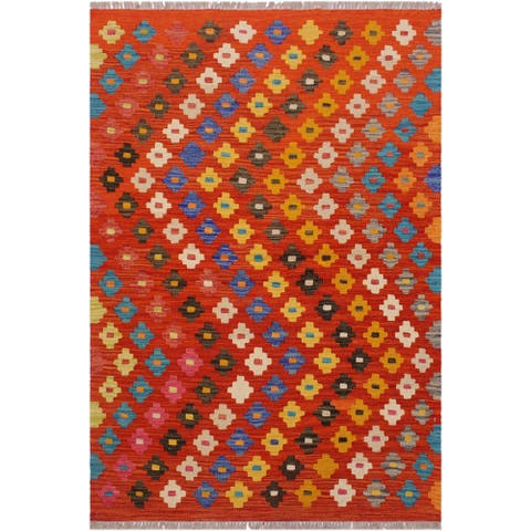 Kilim Alyse Rust/Ivory Hand-Woven Wool Rug -3'6 x 4'11 - 3 ft. 6 in. X 4 ft. 11 in. - 3 ft. 6 in. X 4 ft. 11 in.
