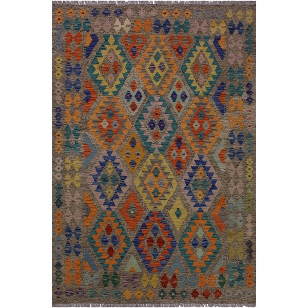 Kilim Aretha Brown/Blue Hand-Woven Wool Rug -5'0 x 6'6 - 5 ft. 0 in. X 6 ft. 6 in.