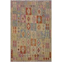 Kilim Arla Gray/Pink Hand-Woven Wool Rug -5'0 x 6'6 - 5 ft. 0 in. X 6 ft. 6 in.