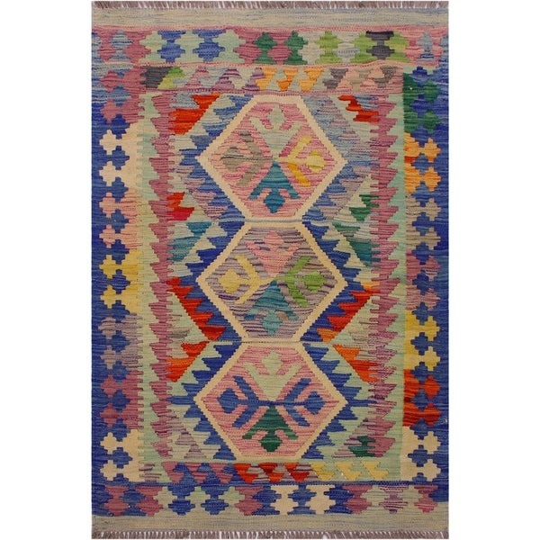 Kilim Barney Blue/Purple Hand-Woven Wool Rug -3'5 x 4'8 - 3 ft. 5 in. X 4 ft. 8 in.