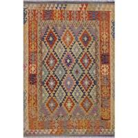 Kilim Ardelia Beige/Blue Hand-Woven Wool Rug -5'0 x 6'8 - 5 ft. 0 in. X 6 ft. 8 in.