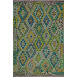 Kilim Cassaund Teal/Gray Hand-Woven Wool Rug -4'1 x 6'5 - 4 ft. 1 in. X 6 ft. 5 in.