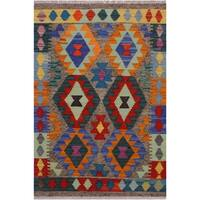 Kilim Bart Brown/Blue Hand-Woven Wool Rug -2'6 x 4'3 - 2 ft. 6 in. X 4 ft. 3 in.