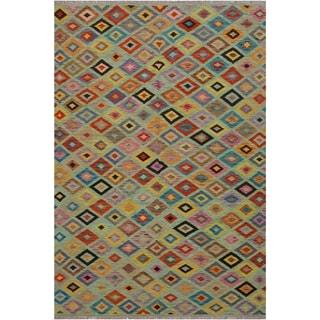 Kilim Arlene Green/Beige Hand-Woven Wool Rug -6'8 x 9'9 - 6 ft. 8 in. X 9 ft. 9 in.