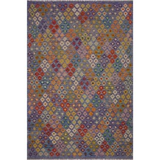Kilim Brian Blue/Beige Hand-Woven Wool Rug -6'9 x 9'7 - 6 ft. 9 in. X 9 ft. 7 in.